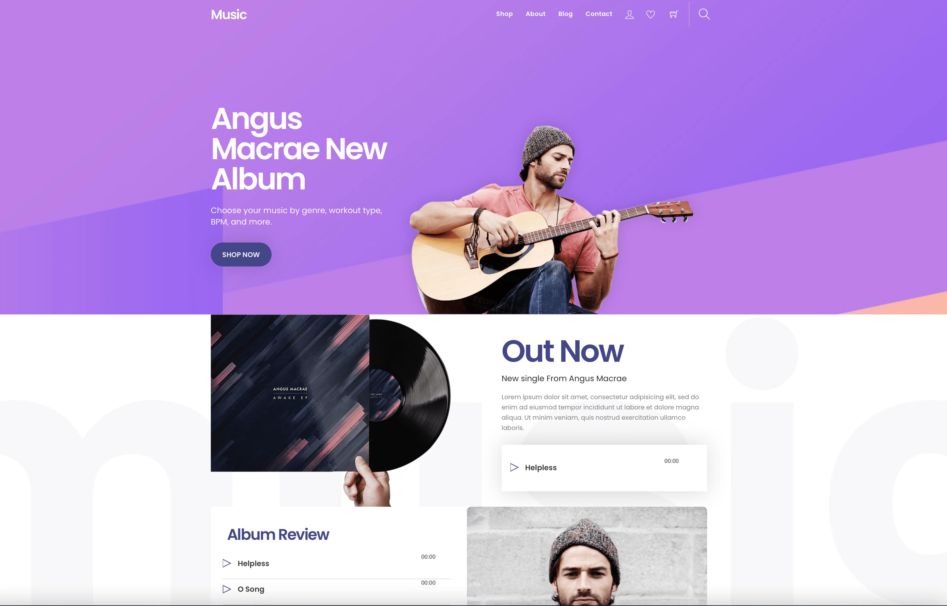 Music artist web design
