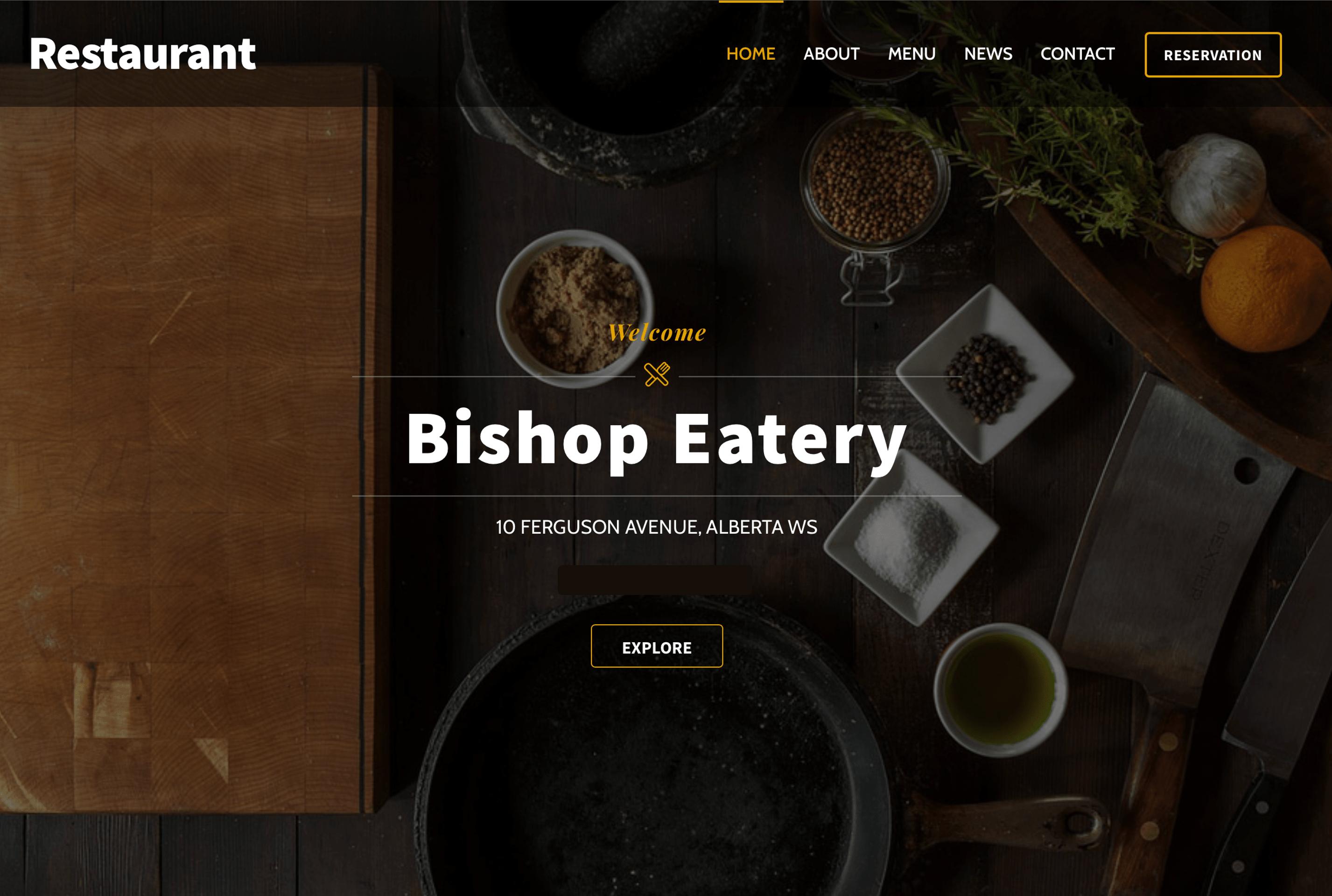 Cafe website design