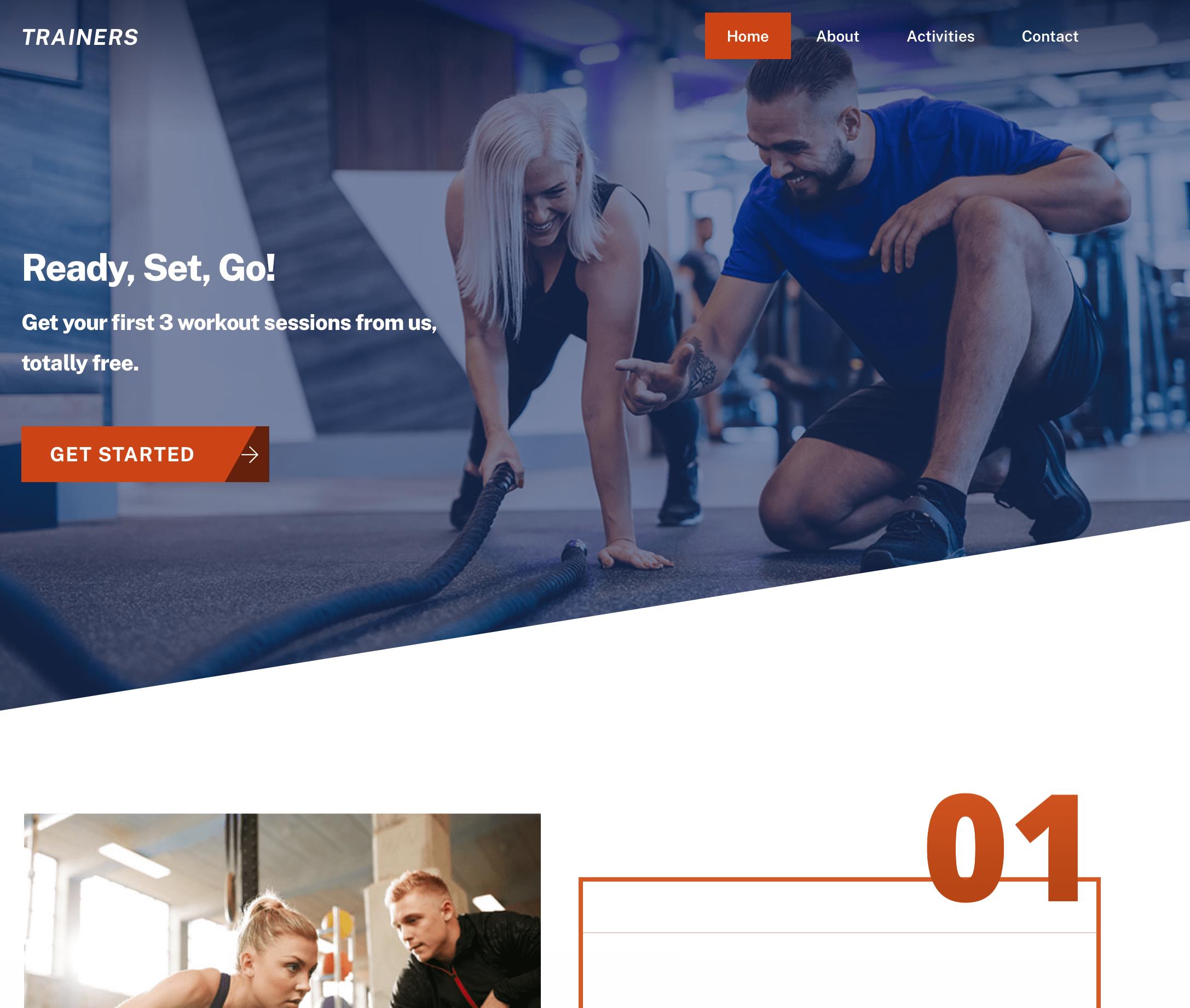 Sportswear web design